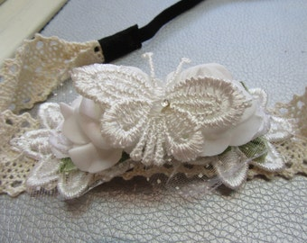 Bridesmaid White Roses and Butterfly Headband Hairband for Girls, Flower Crown, Alice Band
