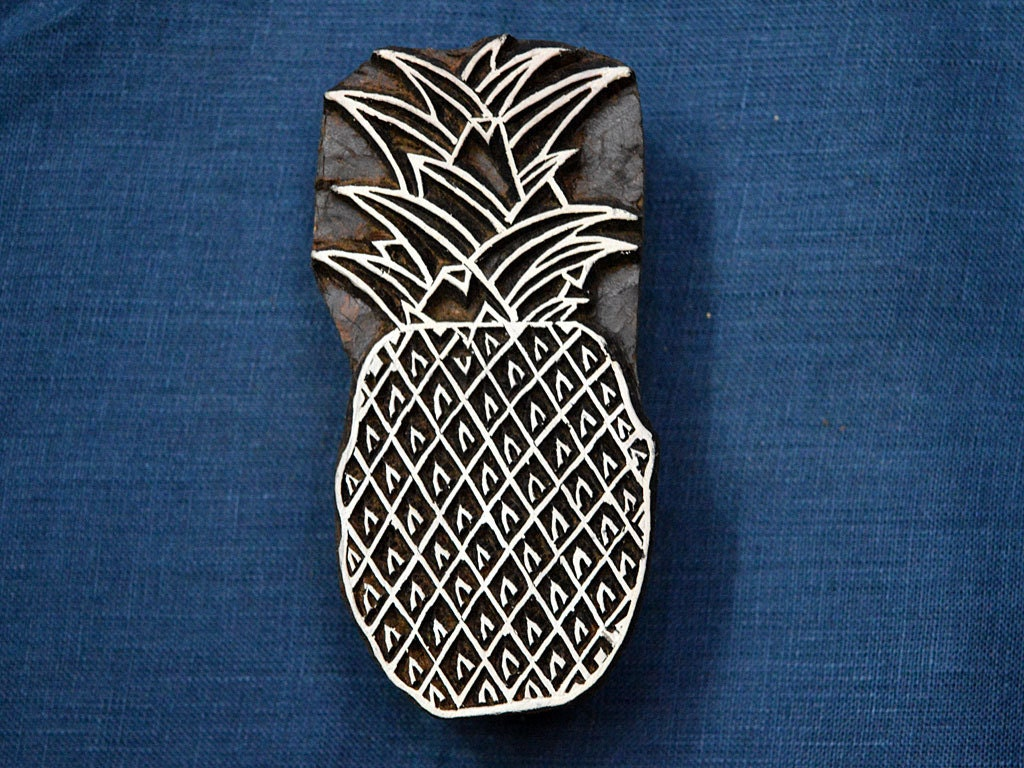 Pineapple stamp blocks hand carved indian wood block wooden