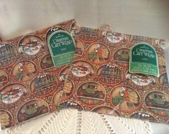 Vintage Hallmark Christmas Gift Wrap, Old Fashioned Santa, Toys