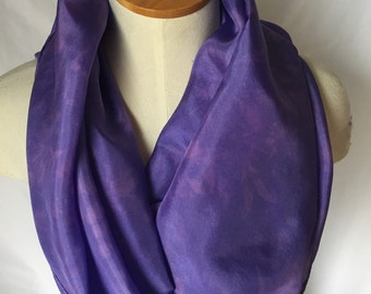 Purple Silk Scarf with some Pink Detail, Purple Scarf, Purple Silk Scarf, Summer Scarf, Spring Scarf