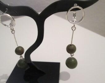 With Jade 925 Sterling Silver earrings