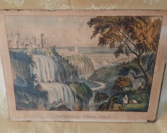 Antique Currier and Ives Print Waterfall 1860s