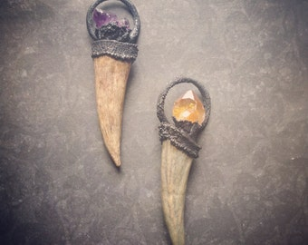 The Witches Totem | Amethyst | Antler Necklace | Blackened Copper