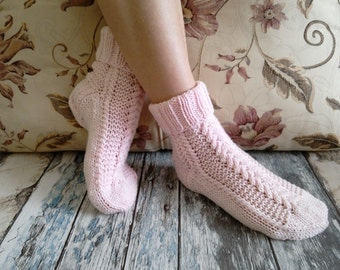 FREE SHIPPING,Knitted Socks , Hand knitted women's socks , Hand Made Socks ,Cosy Socks , Wool Socks