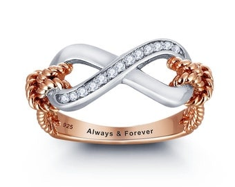 Rose Gold Promise Ring, Rose Gold Infinity Ring, Engraved and Personalized FREE!
