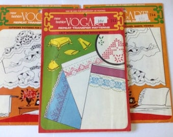 Three (3) Vogart Vintage Embroidery/Painting Transfer Patterns