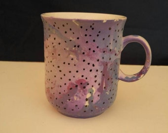 Pink Hand Painted Coffee Cup/Pink Polka Dotted Coffee Cup/Pink Burgundy Coffee/Tea Cup/Small Pink Purple Mug/Mother's Day Gift/Wedding Gift