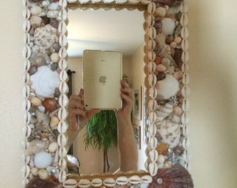 Seashell mosaic mirror