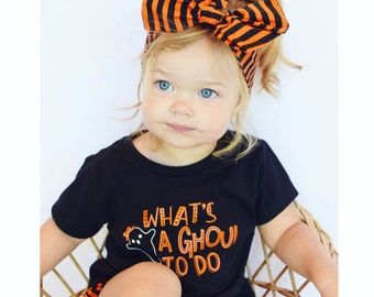 Whats a ghoul to do, girl Halloween shirt, toddler girl Halloween, girl Halloween outfit, Halloween tee, funny Halloween shirt, ghost shirt