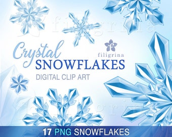 Crystal SNOWFLAKES digital clip art. 17 PNG elements. Christmas holiday, festive winter decor, noel, Happy New Year. Read about usage