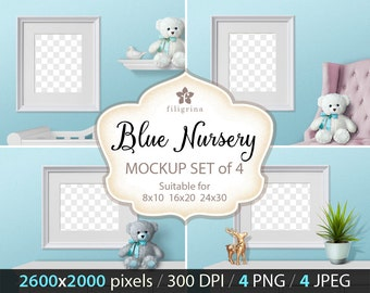 White FRAME MOCKUP set of 4 jpeg + 4 png backgrounds. Blue nursery room. Photo mock up. Artwork mock-up. 8x10, 16x20, 24x30. Commercial use