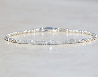 Diamond Bracelet, Genuine Raw Diamond Bracelet, Diamond Jewelry, April Birthstone, Sterling Silver, Delicate Rough Diamond Bracelet
