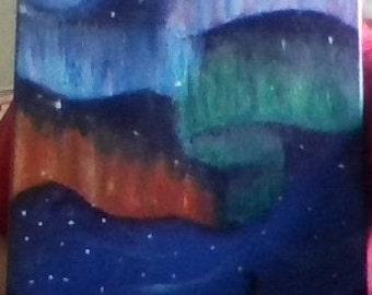 Aura Borealis Northern Lights Oil Painting