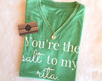 You're the salt to my rita (adult v-neck) - margarita - happy hour - salt - best friends - girl friends - green ti-blend