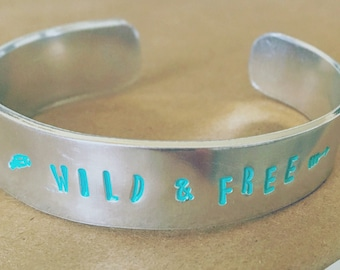 Colored Hand Stamped Cuff Bracelets