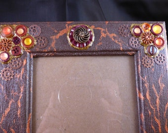 Copper Painted and Embellished 5 x 7 Picture Frame
