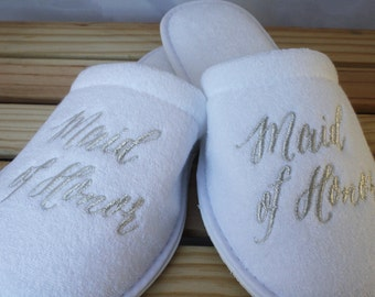 COMBO Slippers for the Bride, Maid of Honor and Bridesmaids. Gift, package, day of the wedding, photo,