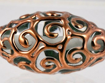 Large Handmade Czech Glass Bead with Swirled Piping Design - 27mm x 13mm - Various Colors Available - Qty 1