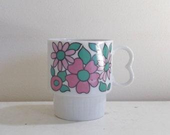 Vintage 1960's retro floral ceramic mug / heart shaped handle / flower power