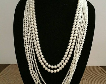 Vintage Pearl Necklace Multistrand Costume Jewelry Faux Pearl Necklace Rhinestone Clasp Set of Two