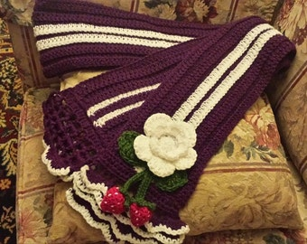 Crochet Scarf with Flower and Strawberries