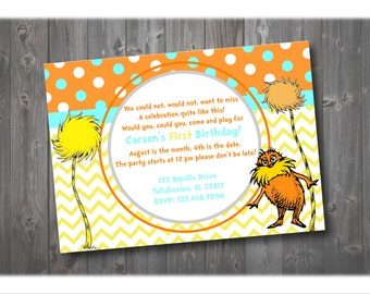 The Lorax Birthday Invitation, Dr. Seuss Party Invitation, Birthday Invitation