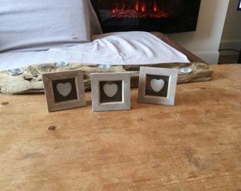Mini pebble heart frames set of 3
