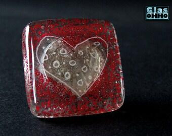 Glass knobs heart