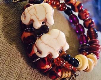 Earthy toned memory wire beaded bracelet