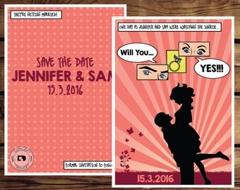 Comic strip pop art retro vintage save the date invitation