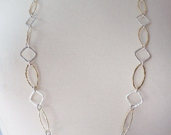 Silver and Gold Tones Hammered Long Necklace.