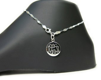 Monogrammed 925 Sterling Silver Confetti Chain Personalized Anklet