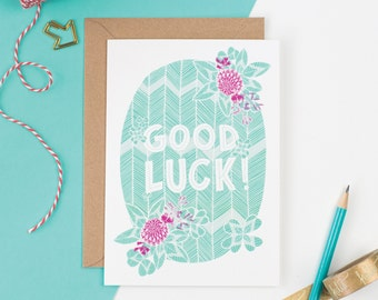 Good Luck Clover Greetings Card