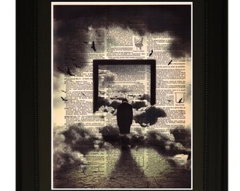 """Underworld''.Dictionary Art Print. Vintage Upcycled Antique Book Page. Fits 8""""x10"""" frame"""