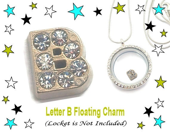 letter b floating charm floating locket charm by