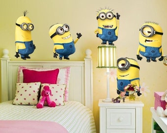 5 Minions Removable Wall Stickers Kids Room Decor