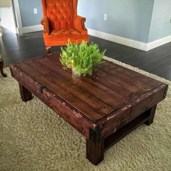 Rustic industrial coffee table farmhouse by archerhomedesigns for Industrial farmhouse coffee table