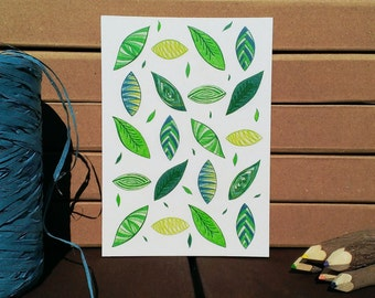 Card Leaves Pattern - A6 Postcard - Blank Card - Just Because Card - Card Recycled Paper.