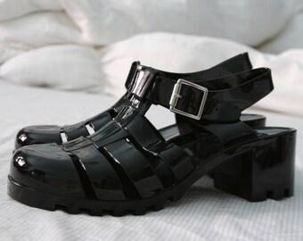 SODA black jelly gladiator sandals EU 39 women's size 8 8.5 US