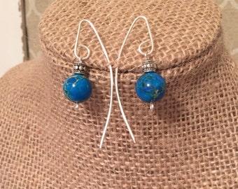 Turquoise Bead Threader Earrings