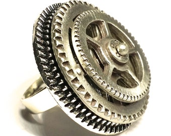 SOLD! Spinning Gear Ring, Adjustable, Really Spins!, Antique Silver