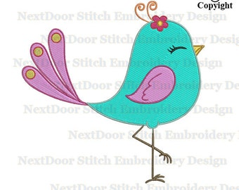 Bird embroidery  design, cute girly bird elegant girl filled stitch download,  brd-018-fill