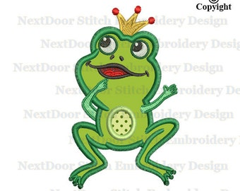 Frog embroidery design, cute animal sea life embroidery applique, prince boy crown file download, frog-006