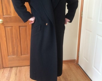 Vintage Jones New York Black Wool Full Length Coat