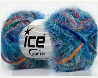 ICE Yarns Vitech Rainbow Blue Shades one skein