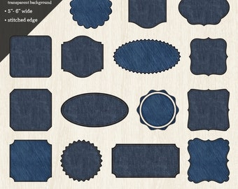 Digital Clipart: Denim Labels & Frames with Stitched Edge//Denim Digital Clip-art//Denim PNG Tags