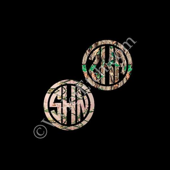 Camo Circle Monogram-Yeti Decal-Camo Monogram Decal-Circle Monogram Decal-Camo Monogram Decal-Window Decal-Custom Decal-Laptop Decal