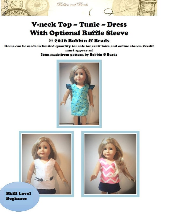 """V-neck Dress - Tunic - Top for 18"""" Dolls with Optional Ruffle Sleeve Fits AG Tutorial"""