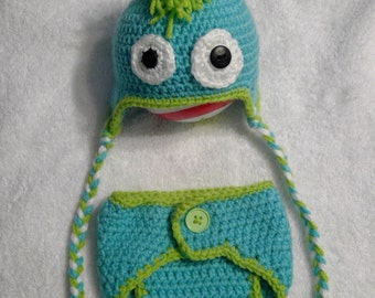 Newborn Monster Hat and Diaper Cover -crochet
