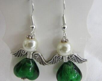Green angel earrings